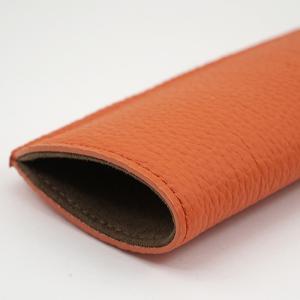 ドイツシュリンク シワ有り ショルダー部位使用 本革 ソフト 小さめ メガネケース オレンジ|zeppinchibahonpo|05