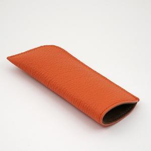 ドイツシュリンク シワ有り ショルダー部位使用 本革 ソフト 小さめ メガネケース オレンジ|zeppinchibahonpo|07