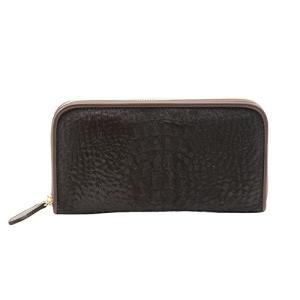 高級素材 ハラコ クロコダイル型押し プリント ラウンドファスナー 長財布  ブラック(I)