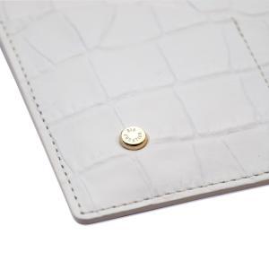 国産レザー 型押し クロコダイル 保険証 お薬手帳 が入る バッグイン スリム マルチ カードケース(オフホワイト) ギフトにおすすめ|zeppinchibahonpo|04