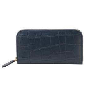 高級 ハンドメイド 財布 ネイビー クロコダイル(型押し) の 本革 ラウンドファスナー 長財布|zeppinchibahonpo