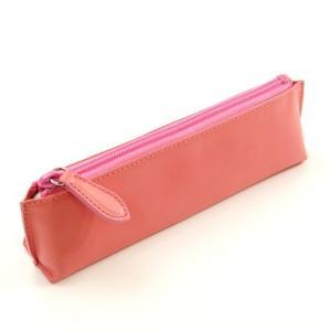 牛革 スムース レザー ペンケース (ピンク) 大人 女子 の かわいい 本革 筆箱 zeppinchibahonpo