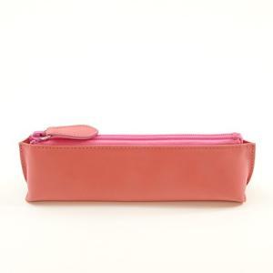 牛革 スムース レザー ペンケース (ピンク) 大人 女子 の かわいい 本革 筆箱 zeppinchibahonpo 02