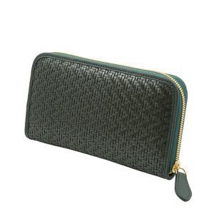 スペイン 牛革 メッシュ ラウンドファスナー 長財布 (グリーン) 大きい 財布|zeppinchibahonpo