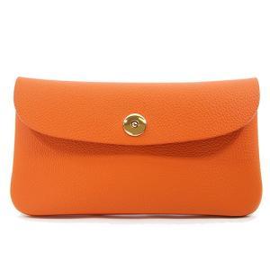 ドイツシュリンク ふっくら 可愛い 長財布 弾力ある革が魅力の カブセ型 本革 レディース 財布 マグネット式(オレンジ)|zeppinchibahonpo