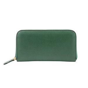 ハンドバッグ 職人 が 高級 イタリアンレザー バケッタ800(グリーン)で作った 本革 ラウンドファスナー 長財布|zeppinchibahonpo