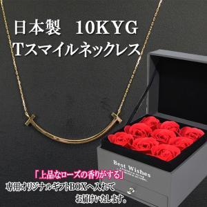 日本製 10KYG ゴールドプレート Tスマイルネックレス レディース お祝い 誕生日 プレゼント ギフト 記念日|zero-com