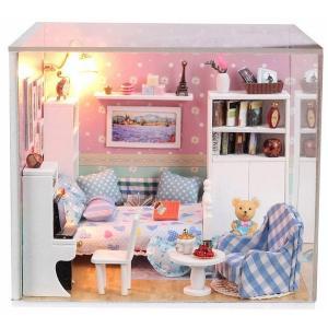 ランプが点灯 ミニチュアドールハウス キット アクリルケース付  夢の小部屋 ハンドメイド DIY|zero-com