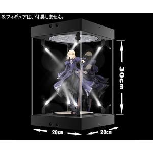 30cm フィギュア ディスプレイケース スポットライト8発 コレクション 複数連結可 回転式ターンテーブル アクリル 簡単組み立て 人形 展示|zero-com