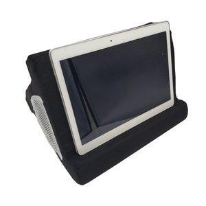 タブレットスタンド 3辺いろいろな角度で使用可能 本 クッション ブラック Ipad スマホ 読書 映画 動画 PC 料理 キッチン リビング 寝室|zero-com