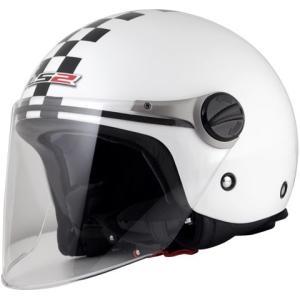 【セール特価】LS2 J-KIDS チェッカーホワイト (キッズジェットタイプヘルメット) キッズフリー(53cm) MHR|zerocustom