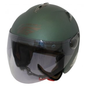 【セール特価】BIRDバードヘルメットマットグリーン(G-7)フリーサイズ ジェットヘルメット DAMM TRAX(ダムトラックス)|zerocustom