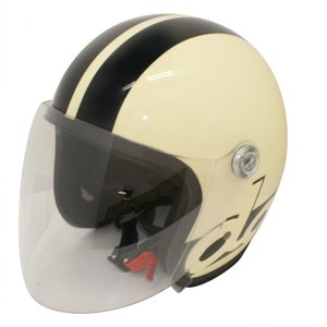 【セール特価】JET-S DAMM&RAX(ダム&ラックス)アイボリー/ブラック フリーサイズ(57cm〜60cm)シールド付ヘルメット DAMM TRAX(ダムトラックス)|zerocustom