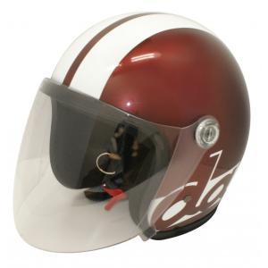 【セール特価】JET-S DAMM&RAX(ダム&ラックス)マルーン/ホワイト フリーサイズ(57cm〜60cm)シールド付ヘルメット DAMM TRAX(ダムトラックス) zerocustom