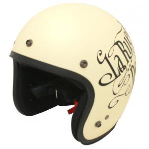 【セール特価】JET-D(ジェット・ディー)ラブ&ロック フラットアイボリー/ブラック(57cm〜60cm未満)ジェットヘルメット DAMM TRAX(ダムトラックス)|zerocustom