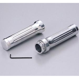 シャドウ400(SHADOW) アルミグリップ Φ1インチ(25.4mm)ハンドル用 ビレット クロームメッキ HURRICANE(ハリケーン)|zerocustom