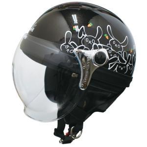 【セール特価】CARINA(カリーナ)レディース ハーフヘルメット ブラック/RABBIT(ウサギ) DAMM TRAX(ダムトラックス)|zerocustom