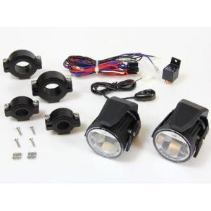車種汎用 LEDフォグランプセット ブラック(ランプ2個スイ...