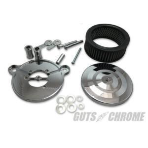 ビレットエアクリーナーキット ラージ クローム ツインカム用 GUTS CHROME(ガッツクローム)|zerocustom