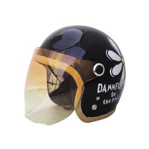【セール特価】フラワージェット パールブラック レディースフリーサイズ(57〜58cm)ジェットヘルメット DAMM TRAX(ダムトラックス)|zerocustom
