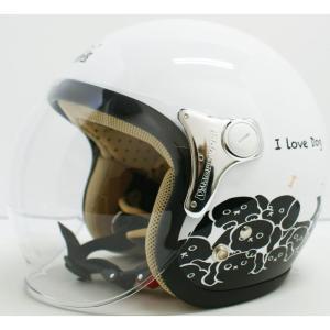 【セール特価】CARINA(カリーナ)ホワイト/DOG(子犬) ジェットヘルメット DAMM TRAX(ダムトラックス)|zerocustom