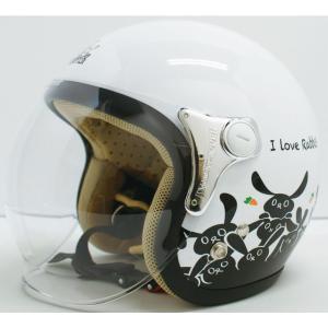 【セール特価】CARINA(カリーナ)ホワイト/RABBIT(ウサギ) ジェットヘルメット DAMM TRAX(ダムトラックス)|zerocustom
