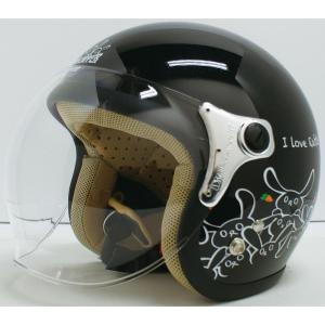 【セール特価】CARINA(カリーナ)ブラック/RABBIT(ウサギ) ジェットヘルメット DAMM TRAX(ダムトラックス)|zerocustom
