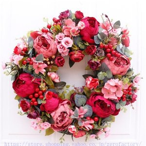 クリスマスリース クリスマス花輪 ドアリース ドア店舗 玄関 庭園 部屋 壁飾り ガーランド バラ ...