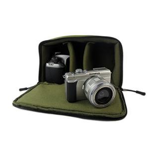 一眼レフ カメラバッグ インナーバッグ ソフトクッションボックス インナークッションケース 撥水加工 アーミーグリーン|zeropotjapan|03