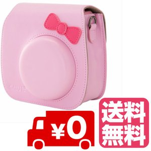 FUJIFILM インスタントカメラ チェキ instax mini 8 mini8+ プラス 専用 カメラケース (かわいいリボン付)ピンク|zeropotjapan