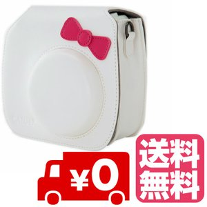FUJIFILM インスタントカメラ チェキ instax mini 8 mini8+ プラス 専用 カメラケース (かわいいリボン付)ホワイト zeropotjapan