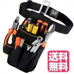 工具入れ 腰袋 工具袋 小物入れ 作業袋 ウエストバッグ カラビナフック ベルト付 多機能ポケット ...