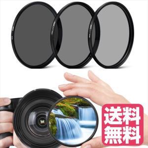 NDフィルター 62mm 3枚セット ( ND2 ND4 ND8 ) 減光フィルター 簡単装着 各カメラレンズメーカー対応|zeropotjapan