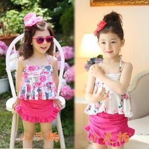 キッズ 水着 女の子 花柄 フリル パンツ スカート 帽子付き セパレート 3点セット ピンク|zerotwo