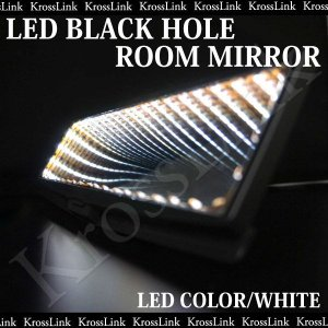 ルームミラー LED ブラックホール 白/ホワイト LED汎用 取り付け 簡単 カスタム/パーツ/内装 光る 汎用/ルームミラー/バックミラー _28126|zest-group