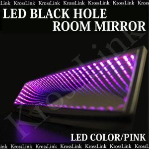 ルームミラー LED ブラックホール 桃/ピンク LED<br>汎用 取り付け 簡単 カスタム/パーツ/内装 光る 汎用/ルームミラー/バックミラー _28129
