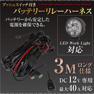 LED バッテリーハーネス プッシュスイッチ付き 3M DC12V 最大40A 電源ハーネス 電源ケーブル 電源コード 電源配線 コネクタ  _45289 zest-group