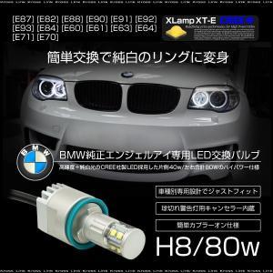 BMW LED イカリング バルブ CREE 80W 6000K H8 キャンセラー 純正交換 2個 E87 E82 E88 E90 E91 E92 E93 E84 E60 E61 E63 E64 E71 E70 条件付 送料無料 _59753