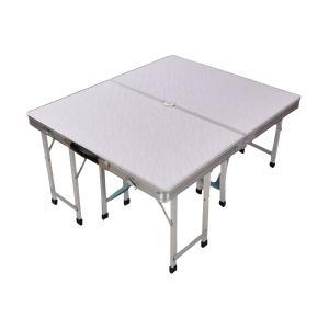 アウトドアテーブル 折り畳み レジャーテーブル 80cm×90cm 4人用 4脚付き BBQ バーベキュー あすつく対応  _86289 zest-group