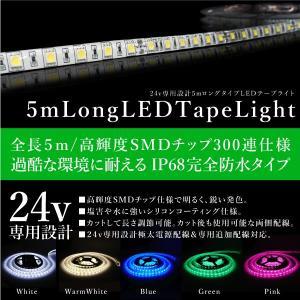 LEDテープライト 防水 24V 5m 幅10mm 5050SMD×300発 両側配線 カット可能 5色 白 暖色 青 緑 ピンク トラック 船舶用品 条件付 送料無料 _@a865|zest-group
