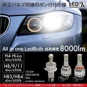 LEDバルブ CREE 爆光 40W 6500K 8000lm H4 Hi Lo H8 H9 H11 HB3 HB4 一体型 12V 24V 簡単取付け ヘッドライト フォグランプ   @a939|zest-group