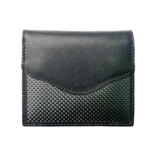 二つ折財布 カーボン×本革 ブラックステッチ 「ルキミア」|zeus-japan
