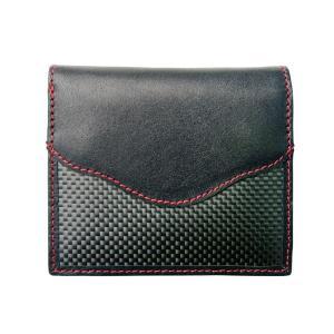 二つ折財布 カーボン×本革 レッドステッチ 「ルキミア」|zeus-japan