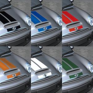 MINI(ミニ) R55S/R56S/R57S  センターダブルライン ボンネットストライプ 全6色 「CLOS」クロス|zeus-japan