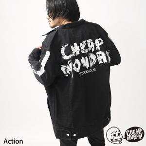 デニムジャケット メンズ Gジャン デニム ジージャン ビッグシルエット ペイント プリント チープマンデー CHEAP MONDAY ファッション (0496176)|zip