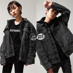 デニムジャケット メンズ Gジャン デニム ジャケット ビッグシルエット オーバーサイズ ロゴ プリント ファッション (0638846)|zip