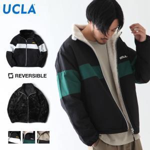 ブルゾン メンズ ナイロンジャケット フェイクファー リバーシブル 2WAY ロゴ刺繍 ジャケット スタンドブルゾン UCLA ファッション (126102) zip