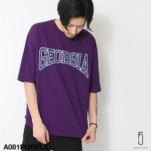Tシャツ メンズ カットソー 5分袖 プリント ロゴ クルー...