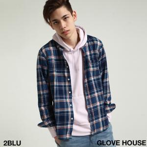 シャツ メンズ カジュアルシャツ レギュラーカラー チェック柄 インディゴ 長袖 ファッション (18311)|zip