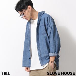 デニムシャツ メンズ ビッグシルエット オーバーサイズ デニム カジュアルシャツ 長袖 インディゴ 無地 ファッション (18320)|zip